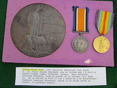 WWI British DEATH PENNY & Medal Grouping ~ Alfred F. Hunt