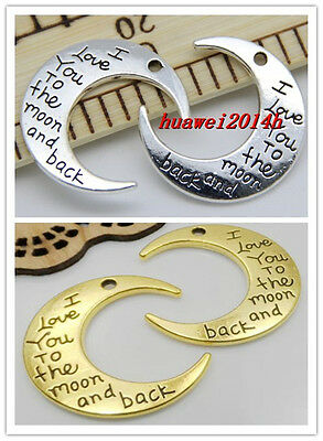 """10/50pcs Chic """"I LOVE YOU TO THE MOON AND BACK """" Moon Charms Pendant DIY 30x27mm"""
