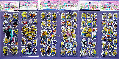 DESPICABLE ME PUFFY STICKER SHEETS minion Gru Party Bag filler choose quantity