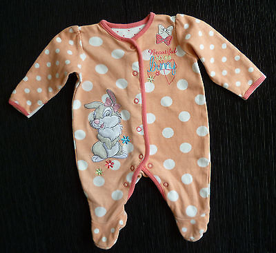 Baby clothes GIRL newborn 0-1m Disney Thumper peach babygrow 2nd item post-free!