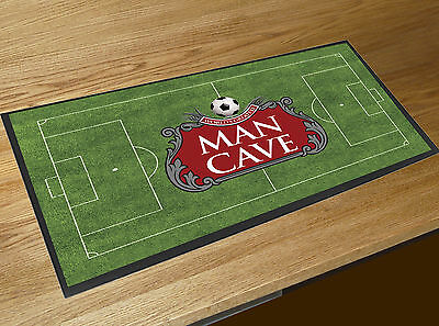 Man Cave Beer Label Football Pitch fathers day gift bar runner counter pub mat