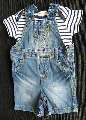 Baby clothes BOY 3-6m M&S denim short dungarees + Babaluna blue stripe t-shirt
