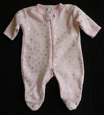 Baby clothes GIRL 3-6m pink/silver hearts zip fleece sleepsuit 2nd item post-fre