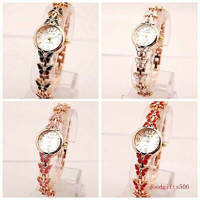 New 10pcs Fashion Butterfly crystal girls ladies woman Metal Wrist watches SW8