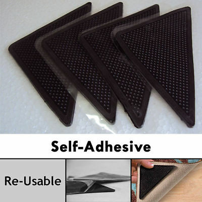 4 Pc Self Adhesive Rug Grippers Reusable Washable Non Slip Grip For All Floor