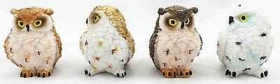 Assortment of Four Cute Small Owls Snow Forest Figurine Statue Animal Collectibl