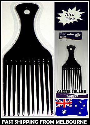 New Afro Pick Hair Styling Salon Barber Black Comb Aussie Seller