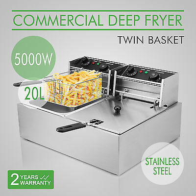 20L Electric Deep Fryer Countertop Commercial Basket French Fry Restaurant Steel