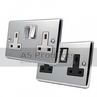 13 Amp Double Wall Socket 2 Gang in Polished Chrome Classic Style