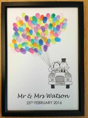 Cute Wedding Guest Book Fingerprint Tree Favour Gift Personalised & Frame + Ink