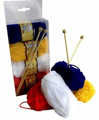 Childrens Knitting Kit - Needles Wool Instructions - Beginners Knit Craft Gift