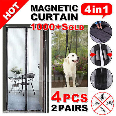 2x Mesh Magnetic Fly Screen Mosquito Bug Door Curtain Hands Free Black
