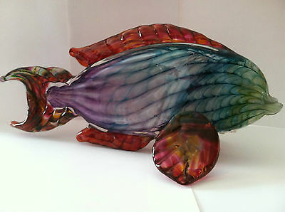"11"" Parrot Fish, Bright Rainbow Colors, Art Glass by Gayle Weyland of Bermuda"