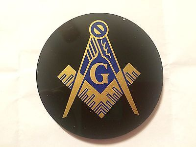 Auto Emblem - Masonic Blue Lodge - Black Acrylic