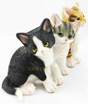 Cat Feline Three Kitty Small Figurine Collection Animal Collectible Decor Statue