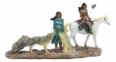 "Native American Indian Family Couple With Horse And Coyotes Figurine 8.25"" Long"