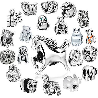 Hot Animals Crystal Bead Fit European Charms 925 Sterling Silver Bracelet Chain