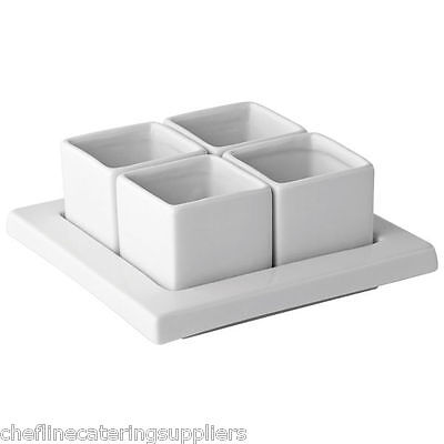 Dip Tray, Serving Dish x4 Square Pots, Sauces, Chutney, Relishes