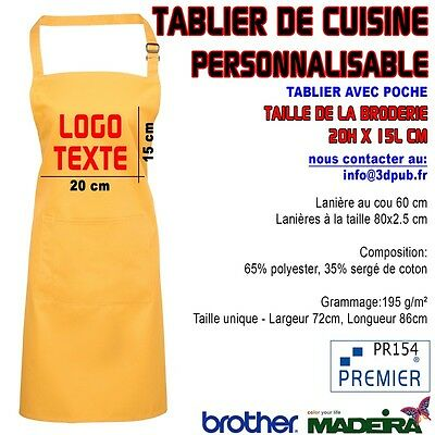 "Tablier Avec Poche ""TOURNESOL"" Brodé Personnalisable Café Bar Restaurant Kebab"