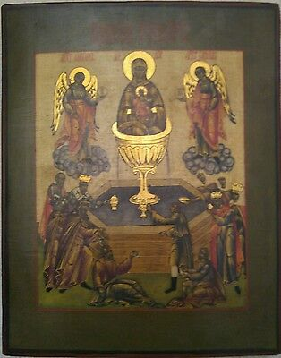 19C Antique Hand Painted Russian Icon Of Vladimirskaya Mother Of God With Oklad