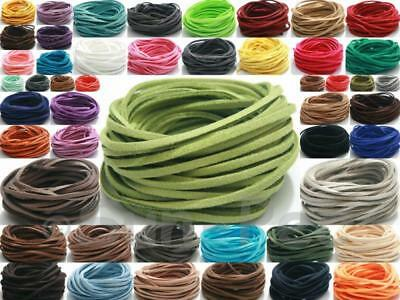 Flat Leather DIY 3mm Cord Lace Rope Jewellery Crafts Beading Faux Suede 2-15yd