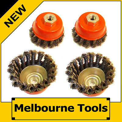"""4PC 3"""" 75mm Twist Wire Cup Wheel Brush, Metal Steel Knot for Angle Grinder"""