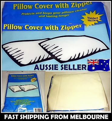 2 X Pillow Protector Covers with Zipper Opening Standard 46 X 70cm AUSSIE SELLER