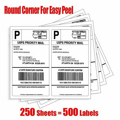 Round Corner 500 Self Adhesive Shipping Labels 8.5x5.5 Half Sheet for Paypal