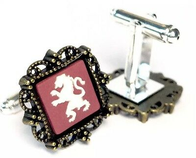 Authentic Wedgwood Square Jasperware Cameos on Silver Plated Cufflinks