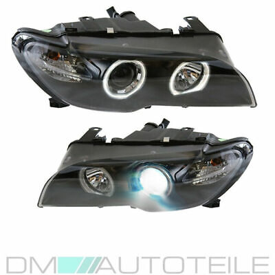 FACELIFT 2x BMW 3er E46 CCFL Angel Eyes Scheinwerfer Schwarz Coupe Cabrio 03-06