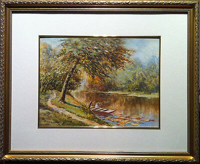 Fishing On The Thames - Mid Century Watercolour - Signed F. Bingley