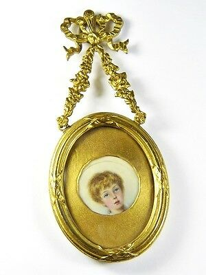 Antique Victorian English Gilt Hand Painted Miniature Portrait Locket Pendant