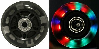 LED INLINE WHEELS 64mm 82a Skate Rollerblade Ripstik LIGHT UP 4-Pack w/ Bearings