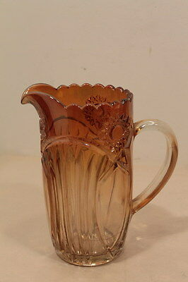 Vintage Carnival Glass HOBSTAR AND SHIELD Pitcher in Marigold