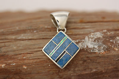 Native American Navajo .925 Sterling Silver Blue Lapis Inlay Pendant Signed