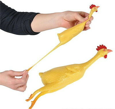 """Lot Of 12 Stretch Rubber Chickens 8"""" Gag Gift Carnival Prize Goody Bag Free Ship"""