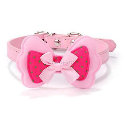 Sweet Puppy Pet Dog Collar Polka Dot Bow Faux Leather Pet Cat Necklace Belt XS-L
