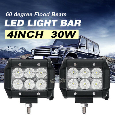 2x 4inch 30W Flood CREE LED Work Light Bar Offroad Motorcycle ATV Driving SPOT