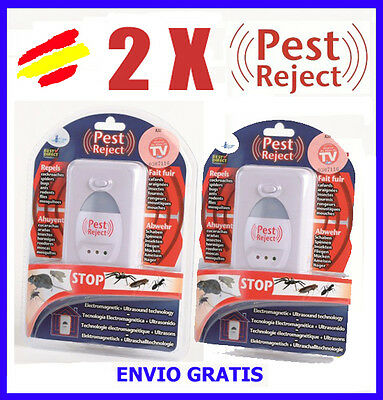 2X PEST REJECT anti MOSQUITOS Repelente INSECTOS ROEDORES Cucarachas Visto en TV