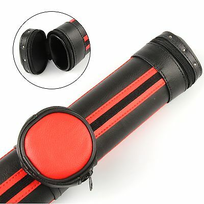 Stylish Black & RED Oval Pool Snooker Cue Case - Detachable Pocket