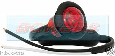 "12V/24V Red Small 1"" Round Led Button Rear Marker Lamp/light Universal Truck Car"