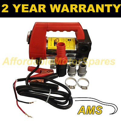 12V Portable Electric Fuel Diesel Water Transfer Pump Clip On Battery