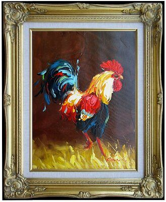 Framed The Rooster - 2, Heavy Impasto Hand Painted Oil Painting, 12x16in