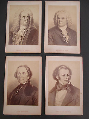 Lot of 4 Vintage Sepia Cabinet Card Size Photo Prints of Composers