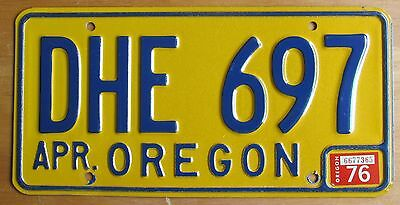 Oregon 1976 SUPERB QUALITY License Plate NATURAL # DHE 697