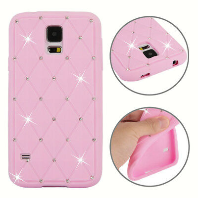 Samsung Galaxy S5 Silikon Case Glitzer Bling Rhombus Schutz Hülle Cover Rosa