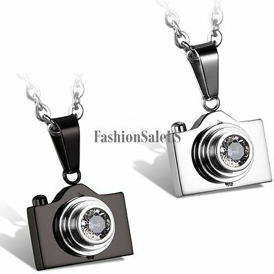 New Stainless Steel Rhinestone Camera Pendant Men's Women's Charm Necklace Chain