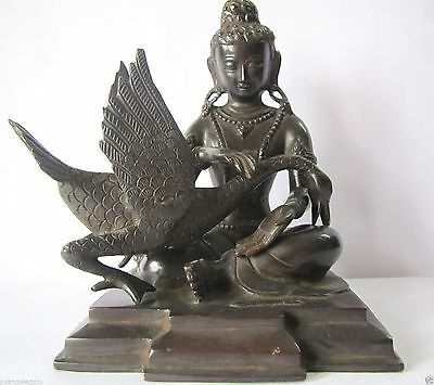 Home Decor Antique Finish Luck Charm  Buddha Gautama Statue With Swan Statue