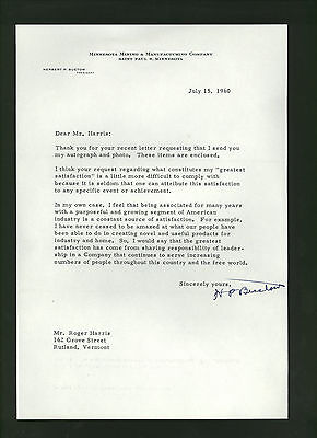 Herbert Buetow: signed 1960 letter by President of 3M Company * Minnesota Mining