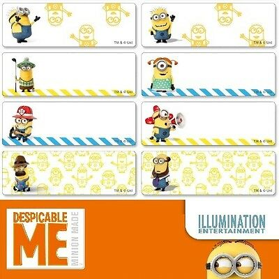 56 Minions Personalised Name Label Stickers Large 46*15mm Dishwasher Safe